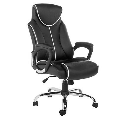 Life Carver High Back PU Leather Office Chair Desk/Computer Chair Black & Brown