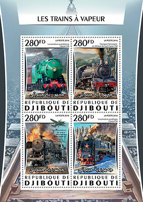 Djibouti 2016 MNH Steam Trains Engines Locomotives 4v M/S Railways Stamps