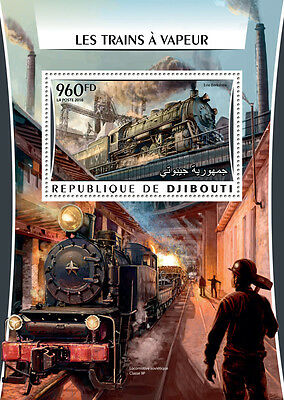 Djibouti 2016 MNH Steam Trains Engines Locomotives 1v S/S Railways Stamps