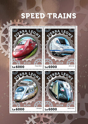 Sierra Leone 2016 MNH High Speed Trains Thalys AVE 4v M/S Railways Stamps