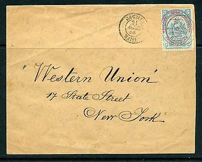 HAITI 1908 commercial cover to New York bearing 1p on 5c adhesive tied Jacmel