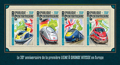 Central African Rep 2016 MNH High Speed Trains in Europe Eurostar 4v M/S Stamps