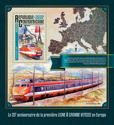 Central African Rep 2016 MNH High Speed Trains in Europe TGV 1v S/S Stamps