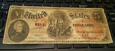impressive 1875 $5 Legal Tender WOODCHOPPER Fr 68 CONTEMPORARY COUNTERFEIT