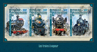 Central African Rep 2016 MNH Steam Trains Engines Locomotives 4v M/S Stamps