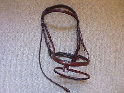 Frank Baines leather flash comfort snaffle bridle nut brown cob size