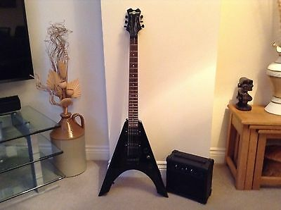 Electric Guitar And Amp Flying V With Case