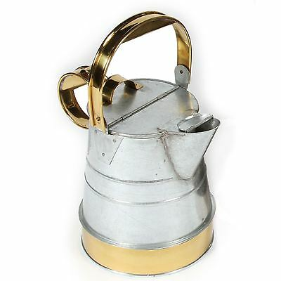 1 Gallon Unpainted Galvanised Narrowboat Buckby Watering Can With Brass Bands