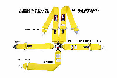 "Rjs Sfi 16.1 Pull Up Racing Harness 5 Point Roll Bar Mount 3"" Cam Lock Yellow"
