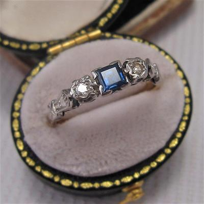 ART DECO SAPPHIRE and DIAMOND TRILOGY RING in 18ct size N