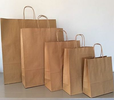 Kraft Brown Paper Bag Twisted Handles Carrier Bags Shop Event Gift Party