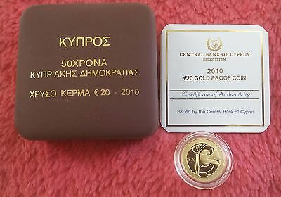 Cyprus Gold Proof Coin Of 2O Euro 2010.