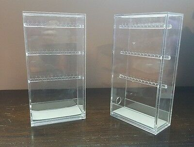 Set of 2 MUJI Acrylic Necklace Earring Organizer Stand Case Holder Display