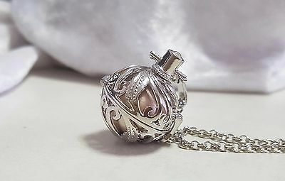 Silver & Gold Feathers Harmony Chime Ball Pendant w/Chain