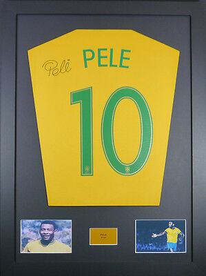 Pele Brazil Signed Shirt framed display with coa