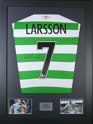 Henrik Larsson Celtic Signed Shirt framed display with coa