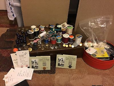 Sewing Thread, Button, Sundries Lot Vintage and Non Vintage BOX NOT INCLUDED