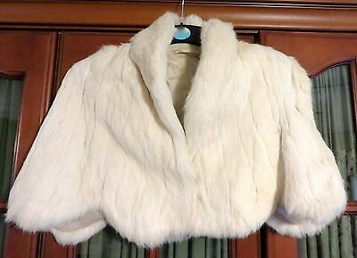 vintage Womens cream ermine Fur Shrug Jacket bolero Wedding Party Top size 10-12