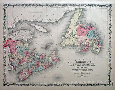 1861Johnson New Brunswick, Nova Scotia, Newfoundland(Original Antique Map Color)