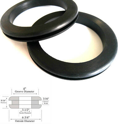 "Set of 2 Very Large Rubber Grommets 3-1/2"" Inside Diameter- Fits 4"" Panel Holes"