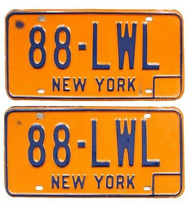New York 1974-1986 License Plate PAIR, 88-LWL, Can Be Registered, Nice Quality