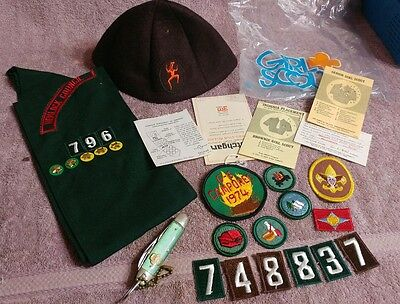 Vintage Girl Scout clothing LOT Hat - Sash - Patches - Knife 1973 member card #4