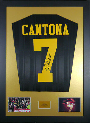 Eric Cantona Manchester United Kung Fu Kick Signed Shirt framed display with coa