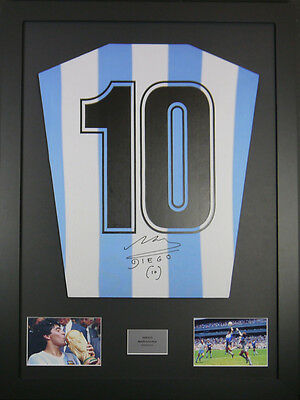 Diego Maradona Argentina Signed Shirt framed display with coa