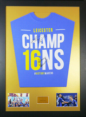 Leicester City vardy and mahrez Signed Shirt framed display with coa