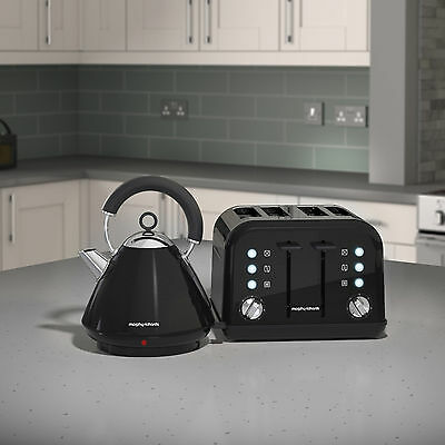 Morphy Richards Accents Kettle & Toaster Set In Black S/Steel 102030 / 242031