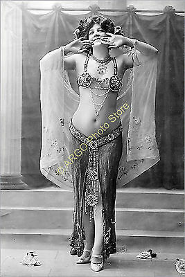 p015 belly dancer vintage dancing as Salome 1900s stage dance danse photo