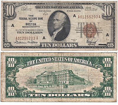 1929 $10 Federal Reserve Bank Note Boston District FR 1860-A