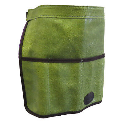 Traditional Green Leather Gardening Tool Roll Apron - slight second