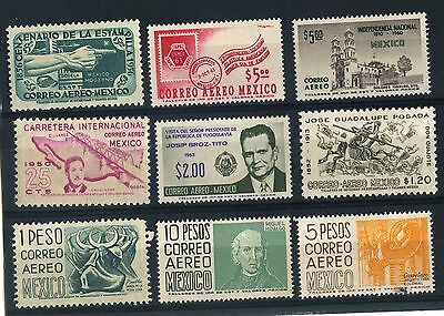 Selection Of 9 Mexico Aereo stamps MH