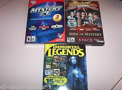 23 Hidden Objects PC Games. Myster P.I., Men of Mystery & Immortal Legends. NEW