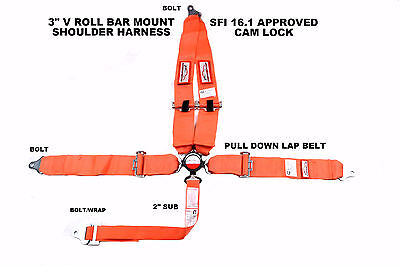 "Sfi 16.1 Racing Harness 5 Point V Roll Bar Mount 3"" Cam Lock Seat Belt Orange ."