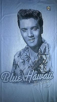 ELVIS Presley BLUE HAWAII t-shirt BABY BLUE ADULT SIZE SMALL NWOT