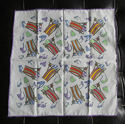 White Gavroche Pocket Square Pochette 42 x 42 cm Beach Plage *