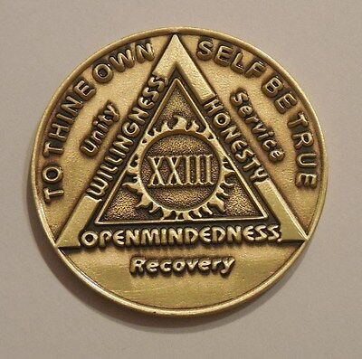 aa bronze alcoholics anonymous 23 year sobriety chip coin token medallion
