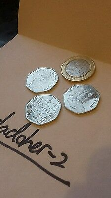 3x Beatrix Potter 50p's & 1x The First World War £2 coin **1 day auction!**