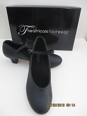 "Dance Shoes Blk 8- 2"" Heel Nib Leather Sole Theatricals Footwear-Price Cut 4 All"