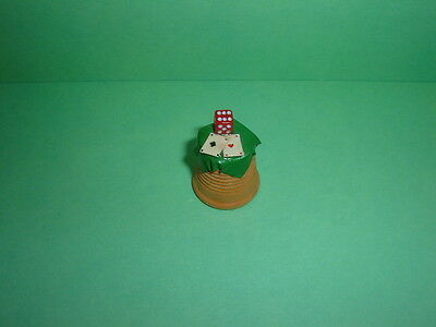 Rare Hand Made Wooden Turned Thimble With Dice And Playing Cards