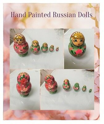 Hand Painted Russian Dolls, Nest of 5, Lovely Gift in perfect condition REDUCED