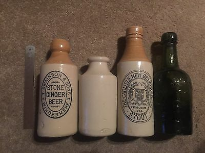Vintage Old Stoneware And Glass Bottles