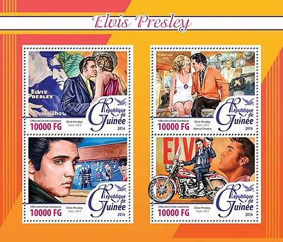Guinea 2016 MNH Elvis Presley 4v M/S Motorcycles Music Celebrities Stamps