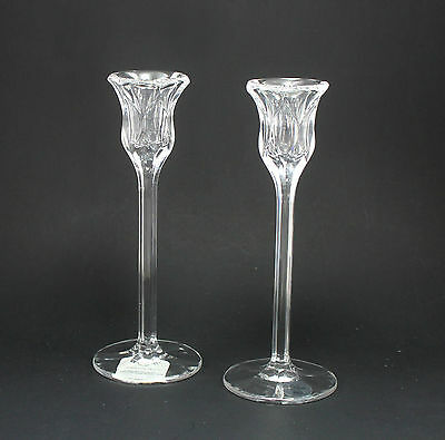 """NIB! Lenox Harlequin 8"""" Lead Crystal Candlestick Pair Made In Germany New In Box"""