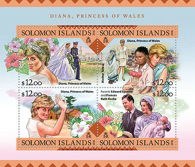 Solomon Islands 2016 MNH Lady Diana Princess of Wales 4v M/S Royalty Stamps