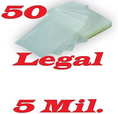 50 LEGAL SIZE  Laminating Laminator Pouches Sheets  9 x 14-1/2   5 Mil...