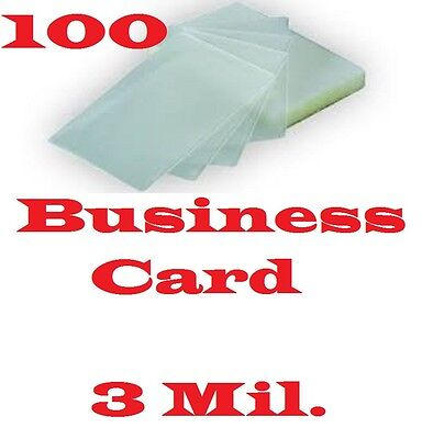 3 Mil Business Card 100 PK Laminating Laminator Pouch Sheets 2-1/4 x 3-3/4   ..