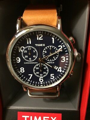 Timex Weekender Chronograph Oversized  Leather Strap Mens TW2P62300